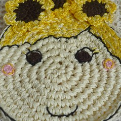 sunflower girl crochet coaster1 (MonikaDesign) Tags: handmade crochet sunflower happyface homedecor tabledecor kitchendecor crochetdoll crochetart crochetcoasters monikadesign
