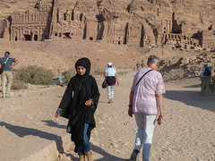 A Middle Eastern beauty (Lena and Igor) Tags: street city travel portrait black girl beauty architecture buildings ancient rocks asia dress petra middleeast ps tourists panasonic jordan arab pointandshoot abaya dmc pointnshoot zs7