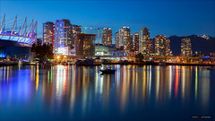 Just After Sunset (Clayton Perry Photoworks) Tags: canada skyline night vancouver reflections lights spring downtown bc falsecreek bcplacestadium explorebc explorecanada