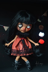 Sombre (Art_emis) Tags: sky black girl altered hair photography carved doll long hand sad skin handmade heather ooak painted clown teeth sombre blythe mold bangs prima custom dolly artemis tanned rbl reshaped