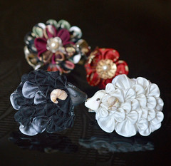 Black and White Year of the Sheep. Tsumami Zaiku. (Bright Wish Kanzashi) Tags: flower cute art animal hair asian japanese pin sheep handmade style ornament fabric zodiac ornate fiber creature technique  tsumami kanzashi