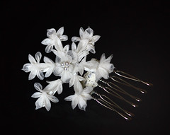 Tsumami Kanzashi. Winter snowflake. Silk Organza. (Bright Wish Kanzashi) Tags: snowflake flower art hair asian japanese pin handmade style ornament fabric ornate fiber technique tsumami kanzashi