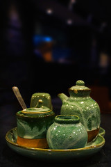 Some tim sum / Sony A6000 / DSC02372 (Valerie MG) Tags: green jars sauces porcelein