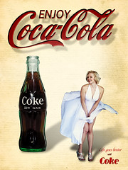 02468798-72-Marilyn Coca Cola Girl-3 (Jim There's things half in shadow and in light) Tags: woman sexy classic photoshop vintage poster bottle marilynmonroe coke cocacola cokebottles
