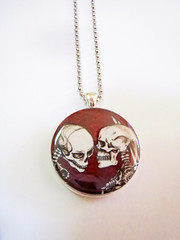 Skeleton Lovers Necklace, Shaireproductions Etsy Art Products (shaire productions) Tags: red art love beauty shop retail illustration shopping skulls skeleton design photo necklace artwork kiss kissing heart image handmade drawing originalart gothic goth decoration picture knife style lovers creation homemade photograph gift bones valentines merchandise products projects etsy decor skeletal pendant valentinesday darkart originaldesign shaireproductions gothicsurrealism