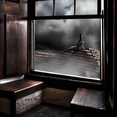 Although it seems a shortcut it's the real path... (Silvia Andreasi (Images Beyond Mirror)) Tags: wood roof light woman window misty clouds photomanipulation digitalart surreal imagination runaway suitcase handbag fineartphotography conceptualphotography mistiness whimsicalphotography silviaandreasi