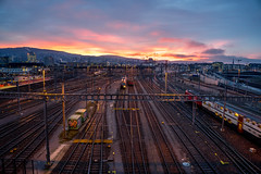 Morning red: Rush in (jaeschol) Tags: morning light switzerland morninglight railway sbb locomotive zrich kreis5 re420 re460 electriclocomotive hardbruecke