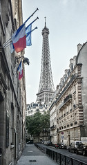 I love Paris (zimoch84) Tags: old paris france color tower mobile vintage ledefrance flag photoshopped samsung eiffel filter s4 efex