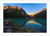 Lake Of Glass (clark_monson) Tags: sunrise canoe alberta lakelouise banffnationalpark canadianrockies mountvictoria victoriaglacier fairviewmountain