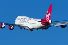 Virgin (Tangoman11) Tags: red aircraft bluesky atlantic virgin airline british boeing ema 747 airliner b747 747400 vir eastmidlands gvxlg b744