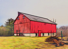 old_red (Barn Study 16) (gerhil) Tags: winter color building classic architecture barn rural exterior graphic outdoor digitalart naturallight handheld serene agriculture gesture landscapephotography topazglow olympusmzuiko17mmf18lens february2016 adobelightroomcc olympusomdem10mkii