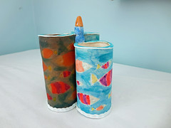 pencil cups-Betsy tut (playsculptlive) Tags: fish cup pencil polymerclay translucent inks pcagoe playsculptlive