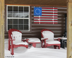 A cool place to sit. HBM! (~~BC's~~Photographs~~) Tags: winter snow americanflag hbm canonsx50 ourworldinphotosgroup bcsphotographs earthwindandfiregroup