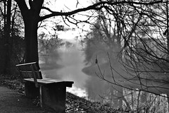 Place to rest (fnumrich) Tags: morning bw water river early blackwhite empty rest