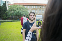 Portrait of a portrait (Wajdi Hmissi) Tags: portrait lebanon guy green college smile grass student funny university pretty phone creative young cell beirut hdr aub oval iphone hamra