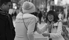 Something's Funny (Just Ard) Tags: street people blackandwhite bw woman white man black blancoynegro monochrome face laughing happy person photography mono glasses nikon noiretblanc zwartwit candid 85mm d750 laughter unposed spectacles  biancoenero schwarzundweis