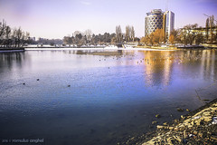 Almost spring (Romulus Anghel) Tags: city blue winter light urban snow cold water colors beautiful beauty weather clouds buildings day cityscape lg freeze romania bucharest bucuresti nori