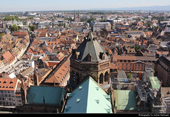 View from Cathdrale Notre-Dame, Strasbourg, France (JH_1982) Tags: old city roof urban france observation town frankreich cityscape view rooftops cathedral gothic kathedrale catedral frana notredame strasbourg cathdrale deck observatory alsace strasburg aussicht notre dame romanesque francia mnster elsass cathedrale estrasburgo  cattedrale  strassburg urbanity strasburgo   strasburger    liebfrauenmnster