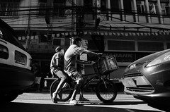 Standby (RM Ampongan) Tags: china white black ahead bike town back kid nikon bmx ride traffic framed father philippines transport style son mini standby passenger framing binondo ongpin d7000
