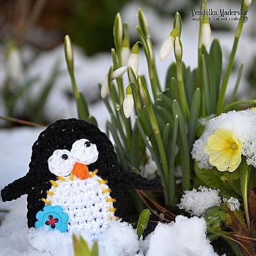 Too late? 😉🐧😀 #lostinthesnowdrops #penguin #crochetpenguin #vendulkam #vendulkampattern #snowdrops #springiscoming #springtime #spring  #crochetingmakesmehappy #crocheting #crochetapplique #flowers