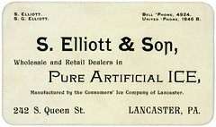 S. Elliott and Son, Dealers in Pure Artificial Ice, Lancaster, Pa. (Alan Mays) Tags: old men ice retail vintage ads paper advertising cards typography pennsylvania antique ephemera pa businesscards type lancaster names lancastercounty advertisements pure fonts printed fathers queenstreet elliott phones wholesale telephones sons typefaces manufacturers consumers dealers artificialice pureice telephonenumbers bellphone elliottson selliottson selliottandson elliottandson pureartificialice consumersicecompany consumersice unitedphone