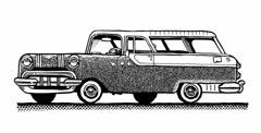 1955 Pontiac Safari (Don Moyer) Tags: auto moleskine car ink notebook automobile vehicle pontiac moyer brushpen stationwagon donmoyer