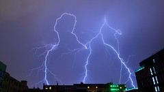Triple Lightnings (Florian Marchal) Tags: storm weather neon stormy lightning futuristic futurist clairs orageux