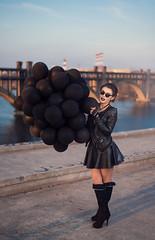 Bridge (Nikita Trutenin) Tags: bridge girls sunset portrait black girl beauty leather sunrise glasses ukraine baloons  beautifull       dnipro