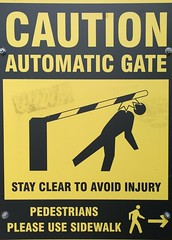 Automatic gate peril (Ruth and Dave) Tags: bar danger warning ouch whistler hurt village stickman injury stickfigure bonk peril stickfigureinperil hitting automaticgate