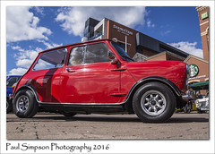Red Mini (low view) (Paul Simpson Photography) Tags: auto cars car sunshine automobile mini lincolnshire lincoln motor citycentre carshow motorshow sunnyday classicmini classiccarshow photosof imageof redmini photoof brayfordwaterfront imagesof sonya77 paulsimpsonphotography april2016