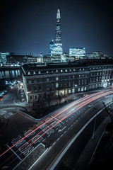 Lower Thames Street (ScottSimPhotography) Tags: street city longexposure england urban london tower rooftop thames skyline night river dark lights evening high noir cityscape view nightscape famous sightseeing southbank hmsbelfast late lower shard urbex customhouse neonoir