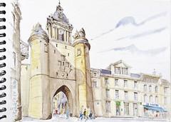 La Rochelle, la Grosse Horloge (Croctoo) Tags: port watercolor aquarelle porte horloge larochelle croquis poitoucharentes croctoo croctoofr
