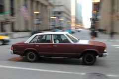 Got Somewhere To Go (Flint Foto Factory) Tags: city morning urban white chicago motion classic chevrolet metal sedan moving illinois am spring gm downtown loop top burgundy district painted platform jackson malibu chevy april lasalle intersection rushhour friday financial 1979 icm abody generalmotors in intermediate 2016 midsize rwd 4door downsized worldcars intentionalcameramovement