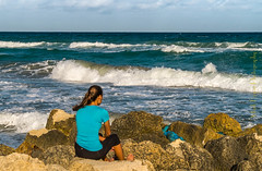 Xpro1-2016-0223 (Mark*f) Tags: house beach girl architecture garden rocks surf waves seagull spray palmtrees palmbeach royalpalmdrive