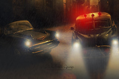 Chevrolet Bel Air Busted by Hudson Hornet in a rainny night (aJ Leong) Tags: