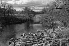 Stanley Bridge, Kirkby Lonsdale (zapperthesnapper) Tags: rock lune river landscape mono sony cumbria limestone rockformations kirkbylonsdale rockstrata riverlune stanleybridge rx100 sonyrx100