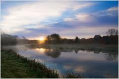 River (Maw*Maw) Tags: blue sky reflection clouds photoshop sunrise canon river eos dawn overlay 7d