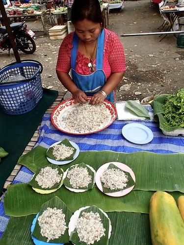 fresh larvae at the village market (yes, for eating)