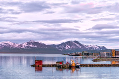 Mountains and the Midnight Sun (Robert Kendall) Tags: ocean sky mountains water norway clouds landscape boat europe fishingboat vessels midnightsun nikond750