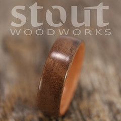 Beeswing Walnut and Madrone (stoutwoodworks) Tags: wood wedding water one wooden engagement natural bend handmade grain walnut band craft jewelry steam ring kind rings strong handcrafted steamed bent 8mm alternative lining stout ecofriendly madrone lined durable woodworks bentwood beeswing