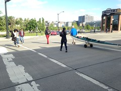 Multimodal crossing, really! (Seattle Department of Transportation) Tags: seattle art downtown kayak crossing 21 transportation marble walkers slu peds southlakeunion sdot
