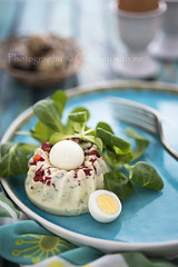 Egg nest appetizer with greens (vanilllaph) Tags: blue food green cake vertical feast dinner menu festive easter recipe table lunch cookbook salad colorful dish nest eating egg tasty plate fork gourmet celebration delicious eat snack greens appetizer portion ornate celebrate culinary savory quail prepared