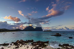 Sunrise on Lord Howe Island (NettyA) Tags: pink sky colour beach water clouds sunrise boats coast sand rocks coastal day5 unescoworldheritage lordhoweisland thelagoon 2016 lhi mtgower mtlidgbird lordhoweforclimate