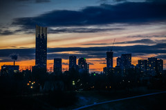 Viewing the Sunset (A Great Capture) Tags: city blue red urban orange cloud toronto ontario canada building skyline architecture night clouds buildings dark lights spring construction downtown photographer crane dusk path smoke hill canadian stack nighttime aura springtime on agc 2016 ald ash2276 adjm ashleylduffus wwwagreatcapturecom agreatcapture