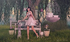 Never let shyness to conquer ur mind... (Neda Andel ~SLooK4U Blog) Tags: pink people flower tree rabbit bench emotion quote pastel secondlife littlebranch essenz kalopsia lelutka hairology