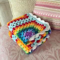 rainbow blanket  #crochet #crocheting #crochetrainbow... (Strawberry Latte) Tags: forsale handmade crochet etsy newbaby crocheting crochetblanket handmadeblanket crochetrainbow crochetaddict uploaded:by=flickstagram crochetersofinstagram instagram:photo=1187080863255723805391400350