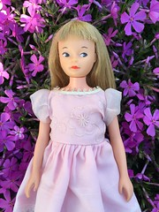 Flower Girl (Foxy Belle) Tags: pink flowers brown girl vintage hair spring eyes doll dress little sister character spice cricket sugar american 1960s toots straight bangs phlox creeping tressy