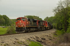 CN Q195 at MP 143.32 (travisnewman100) Tags: railroad cn train mississippi ic mixed central canadian national division ge freight subdivision manifest emd intermodal yazoo sd70 ac44cw sd70m2 ilionis zelleria