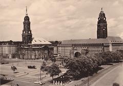 Ansichtkaart Dresden Altmarkt mit Kreuzkirche u Radhaus (dickjan thuis) Tags: tower dresden postcard towers postkarte altmarkt kreuzkirche ansichtkaart radhaus