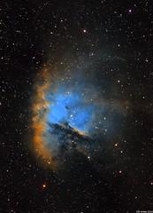 Pacman Nebula - SHO Hubble Palette (Olli Arkko) Tags: stars telescope nebula dslr sho palette hydrogen hubble dso nebulae astrometrydotnet:status=solved astrometrydotnet:id=nova1369332